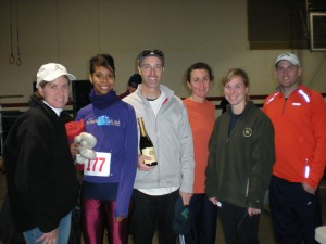 Club members get inside and ring in the New Year after a cold 10-mile race in Louisville on January 1, 2009.