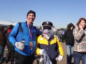 Mike and a security guard after a cold race in Florida